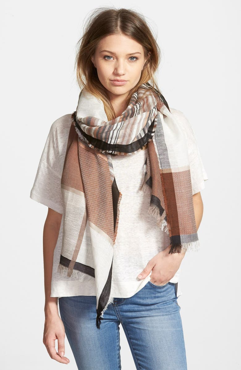 HINGE Plaid Scarf, Main, color, 001