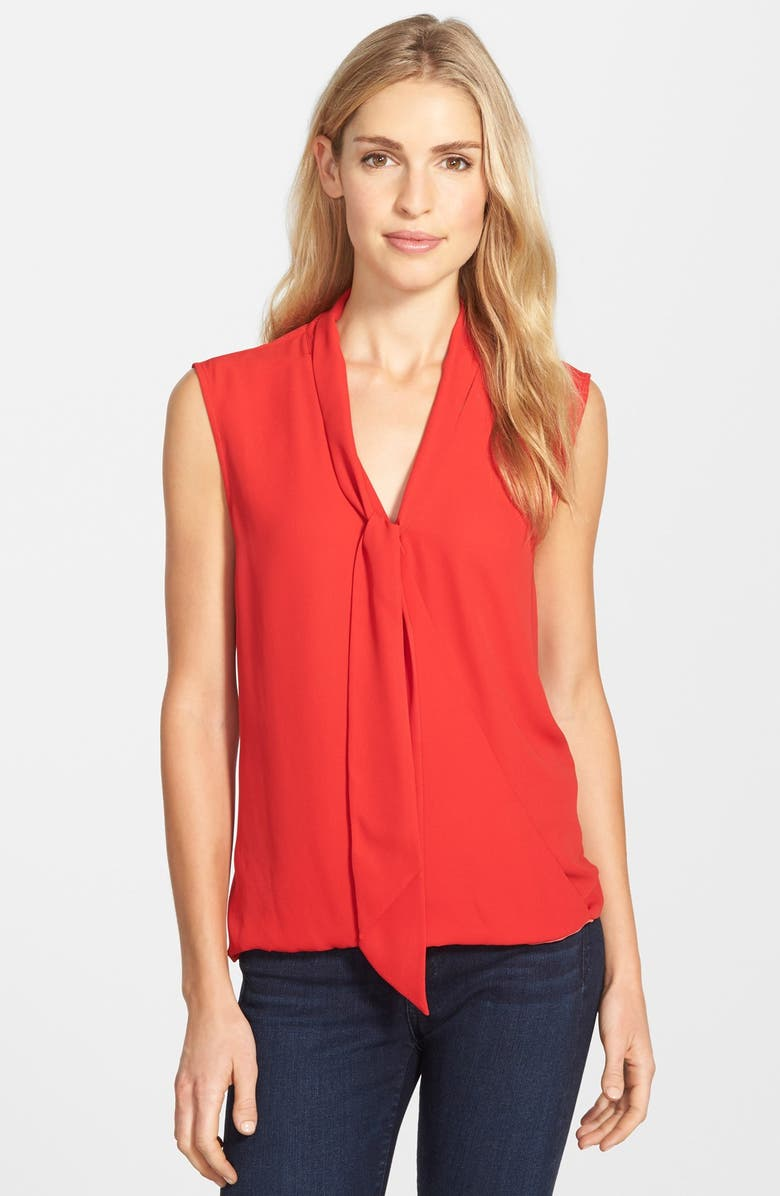 VINCE CAMUTO Sleeveless Tie Neck Faux Wrap Blouse, Main, color, 636