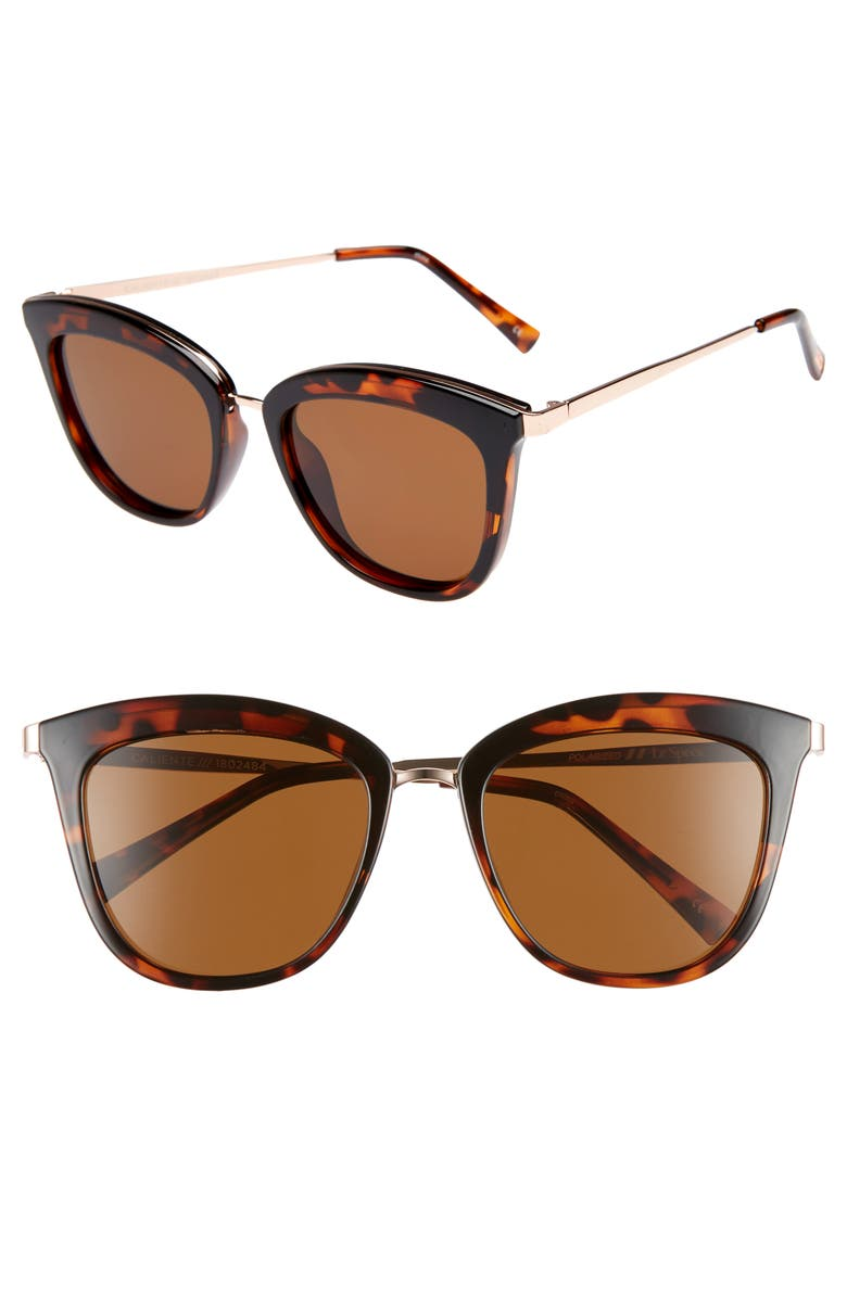 LE SPECS Caliente 53mm Polarized Cat Eye Sunglasses, Main, color, TORTOISE / ROSE GOLD