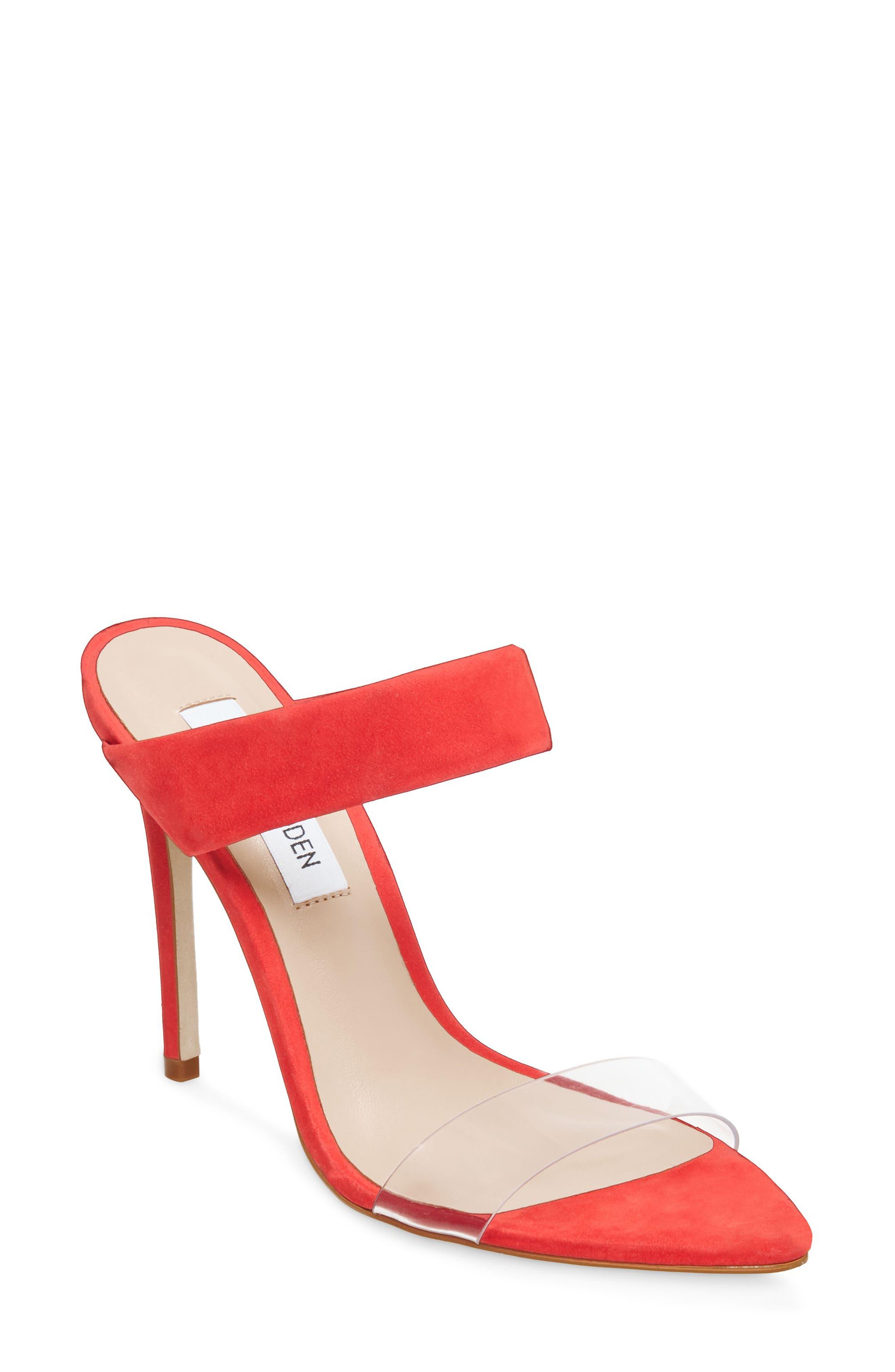 Steve Madden Amaya Clear Slide Sandal, Red