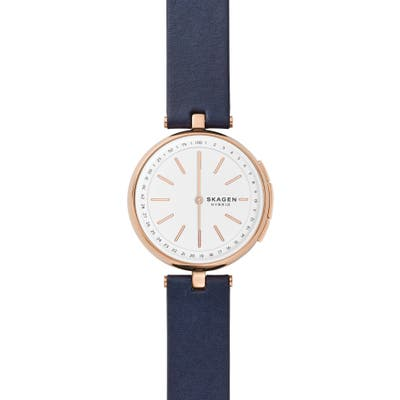 Skagen Signatur Connected T-Bar Leather Strap Hybrid Smart Watch,
