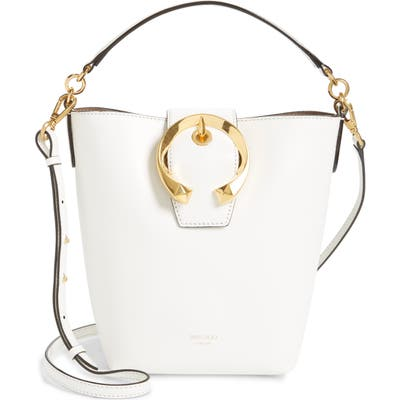 Jimmy Choo Madeline Leather Bucket Bag - White