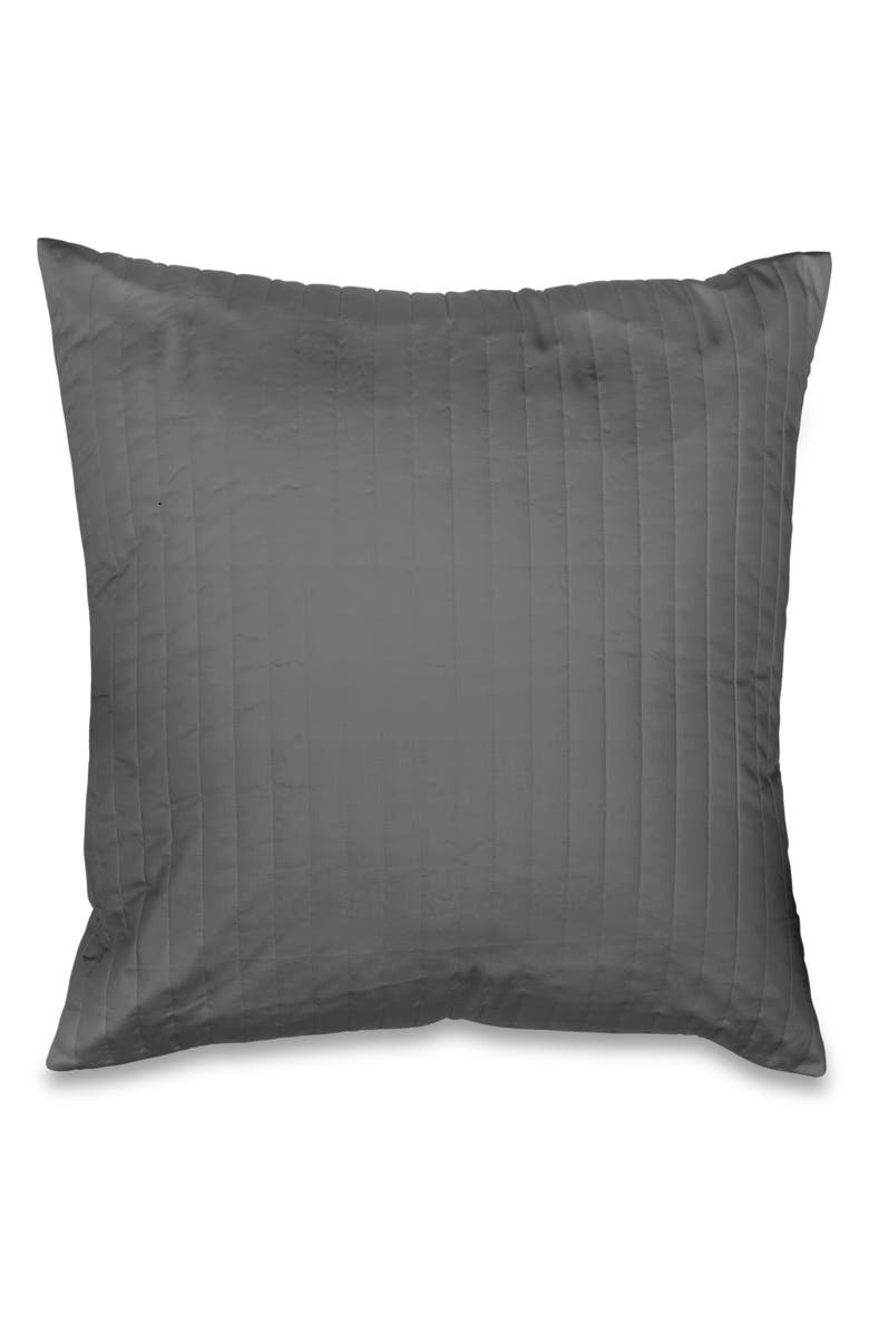 SIGNORIA FIRENZE Sienna Knife Edge 300 Thread Count Quilted Euro Sham, Main, color, LEAD GREY