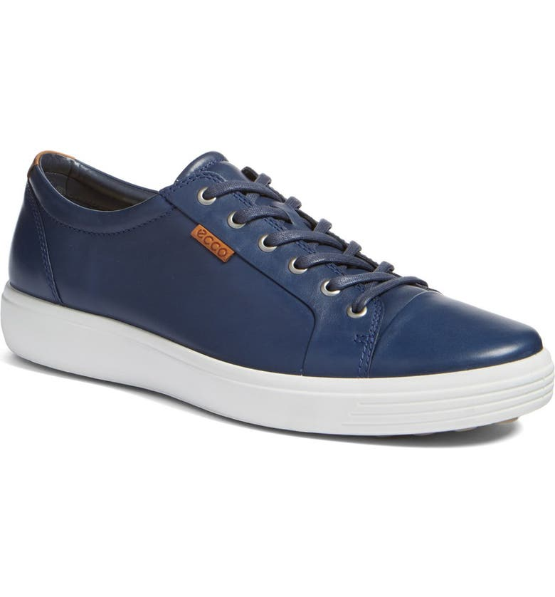 ECCO Soft VII Lace-Up Sneaker, Main, color, NAVY LEATHER