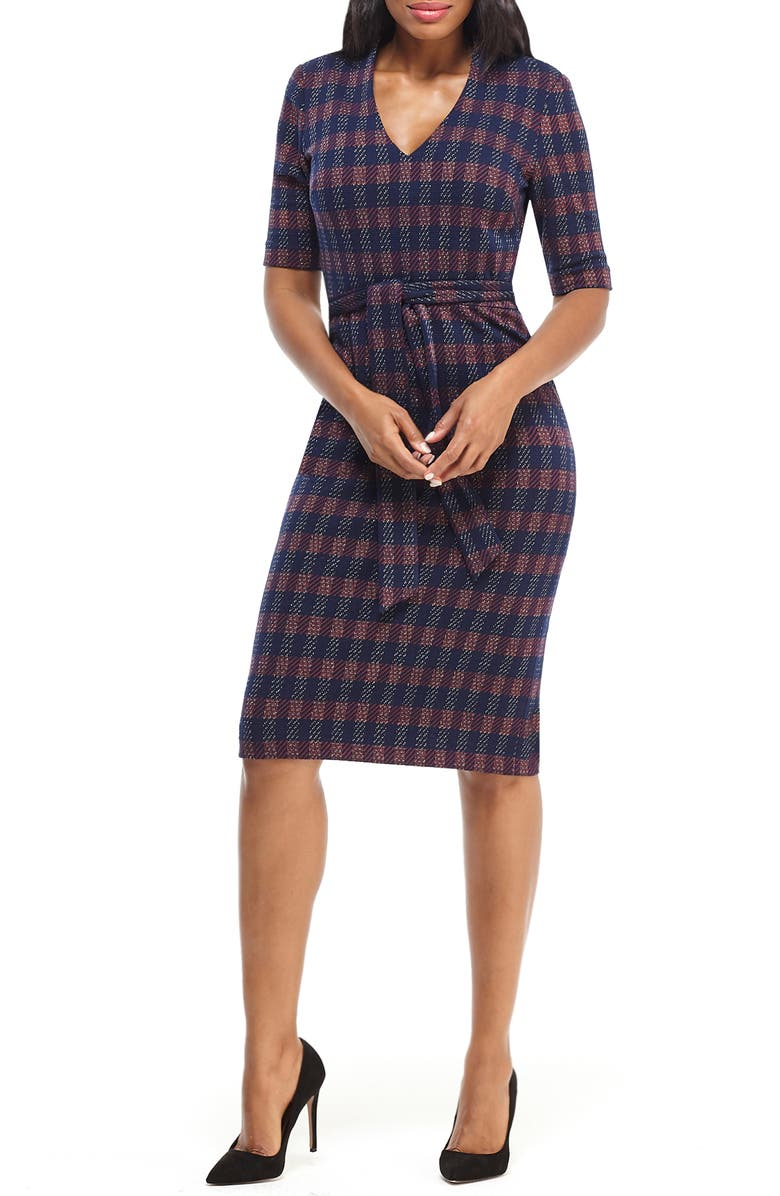 MAGGY LONDON Metallic Plaid Belted Sheath Dress, Main, color, NAVY/ RED