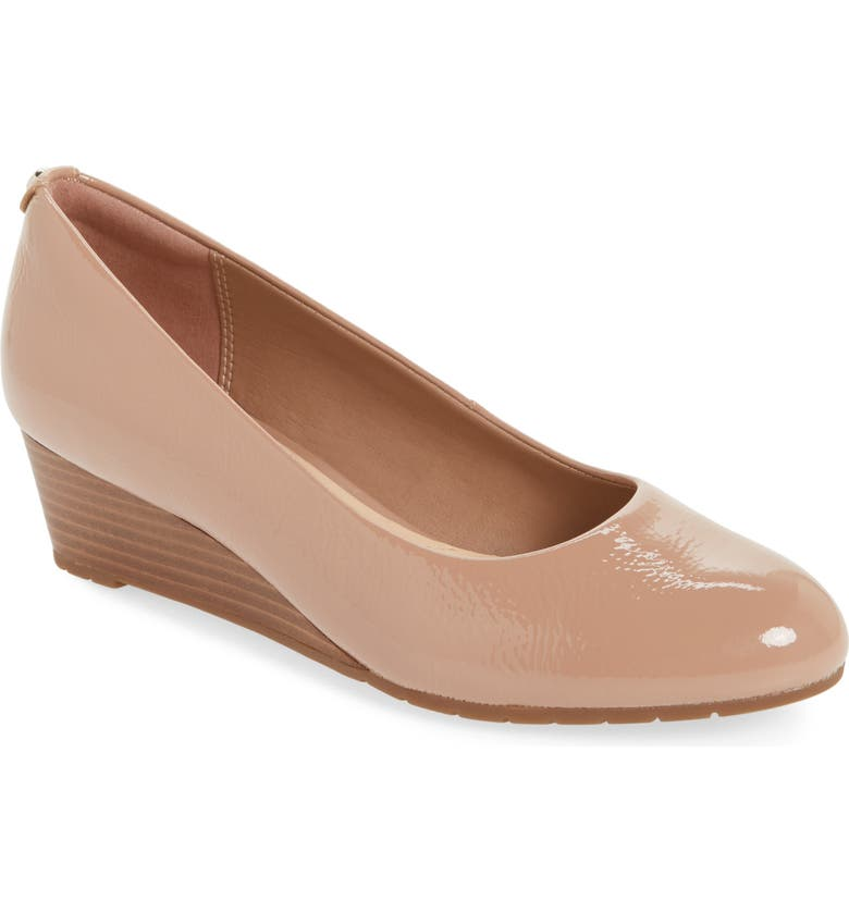 CLARKS<SUP>®</SUP> Vendra Bloom Wedge Pump, Main, color, BEIGE PATENT LEATHER