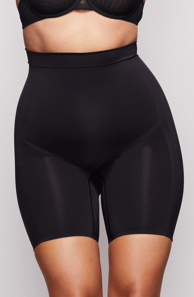 SKIMS High Waist Bonded Shorts, Main, color, ONYX