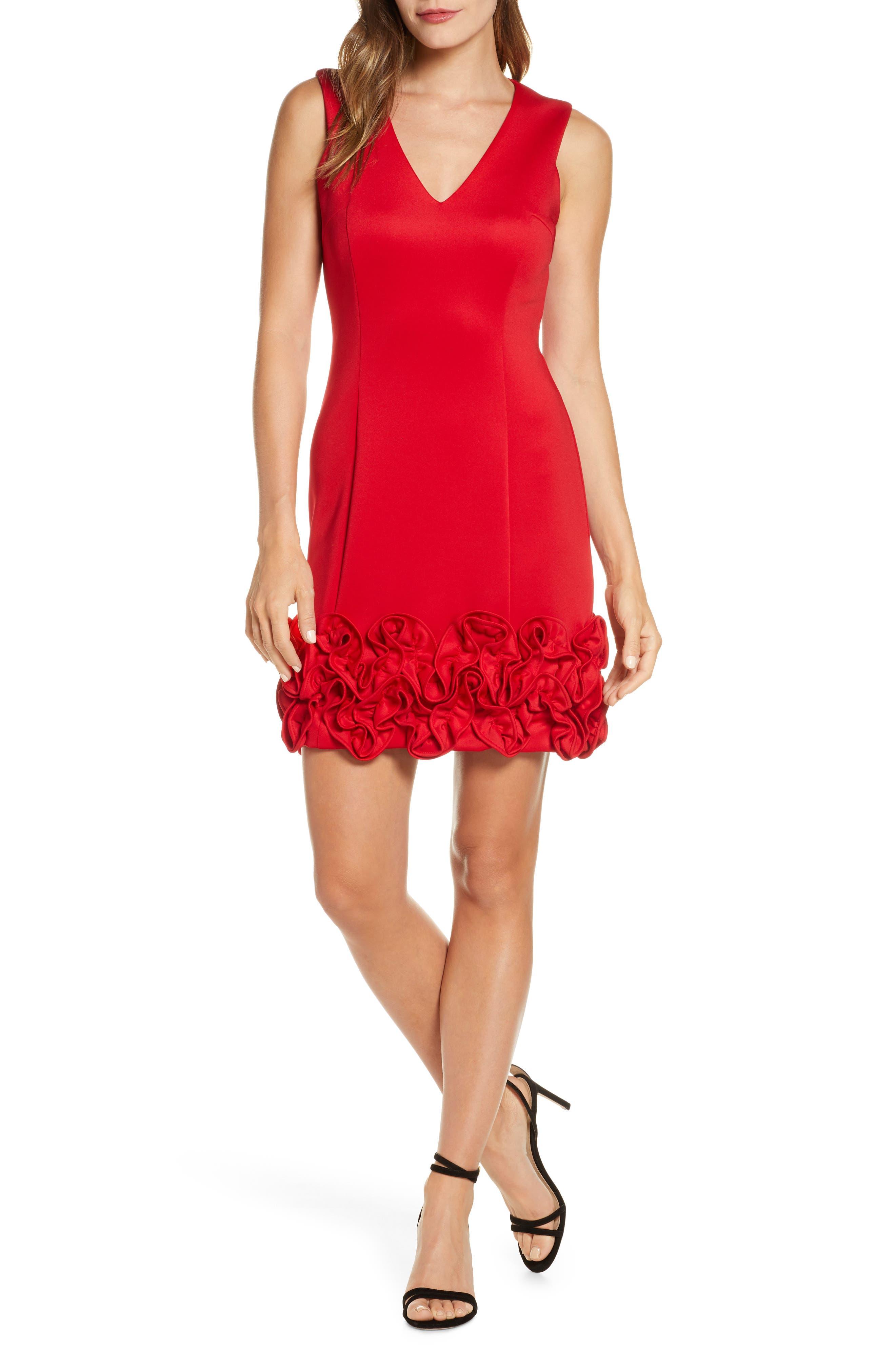 Image of Donna Ricco Sleeveless Ruffled Dress