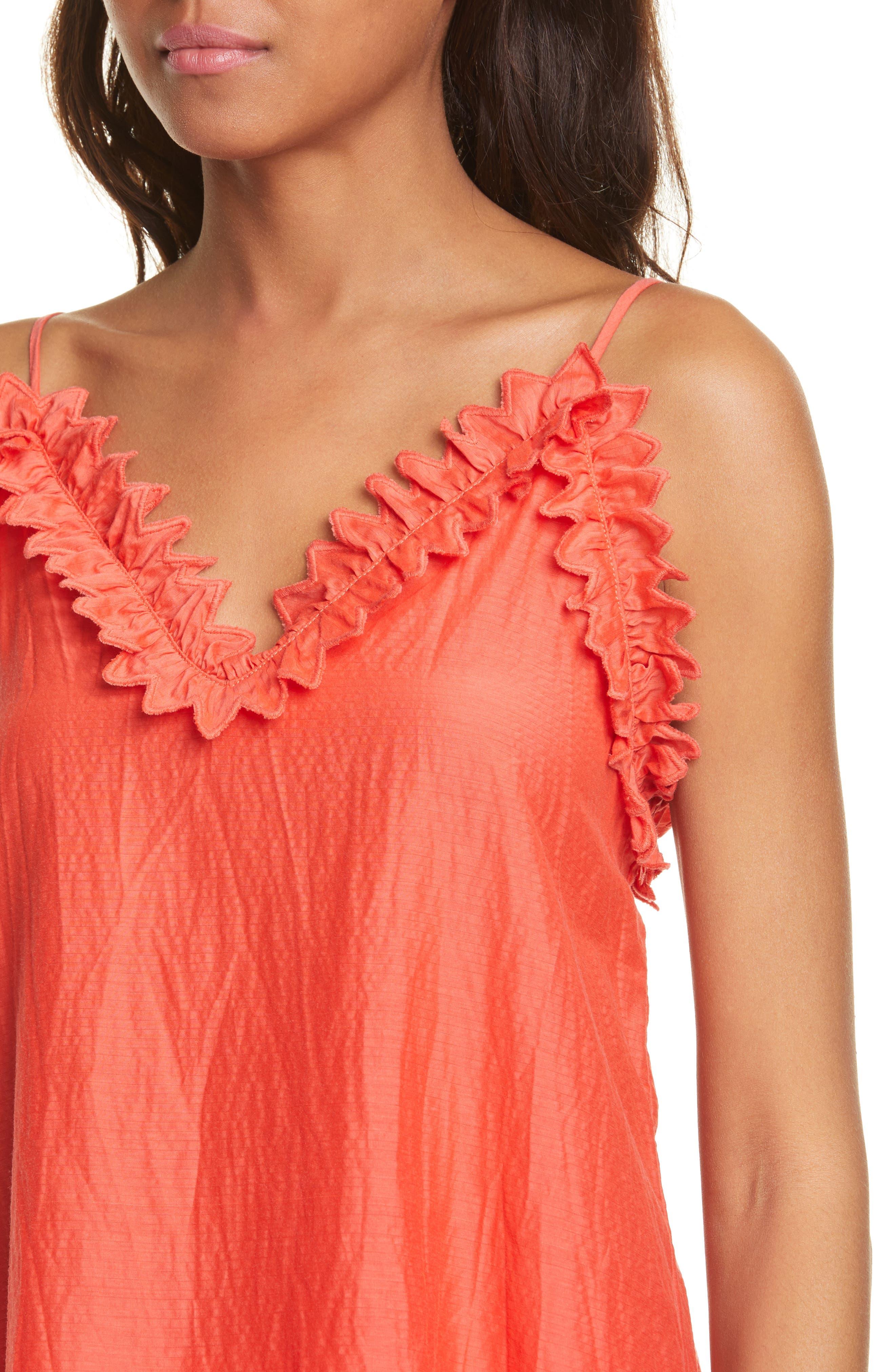 ,                             Petal Detail Cotton Camisole,                             Alternate thumbnail 4, color,                             CHERRY
