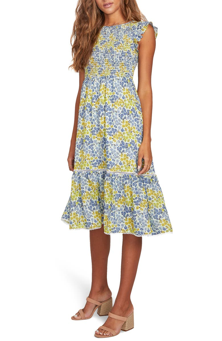 LOST + WANDER Blossom & Bloom Floral Smocked Dress, Main, color, BLUE YELLOW FLORAL