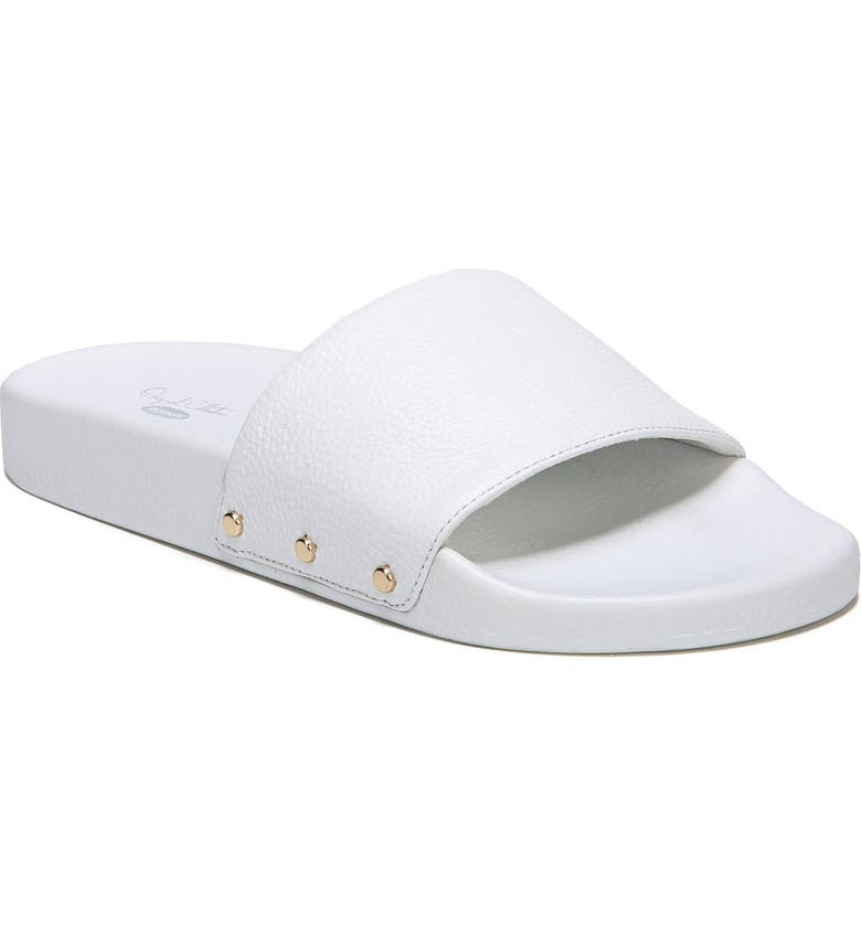 DR. SCHOLL'S Pisces Slide Sandal, Main, color, WHITE LEATHER