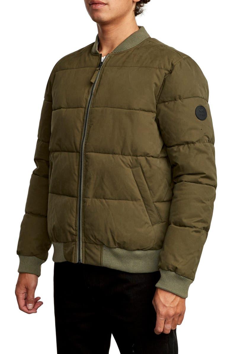 RVCA Superior Bomber Puffer Coat, Main, color, OLIVE