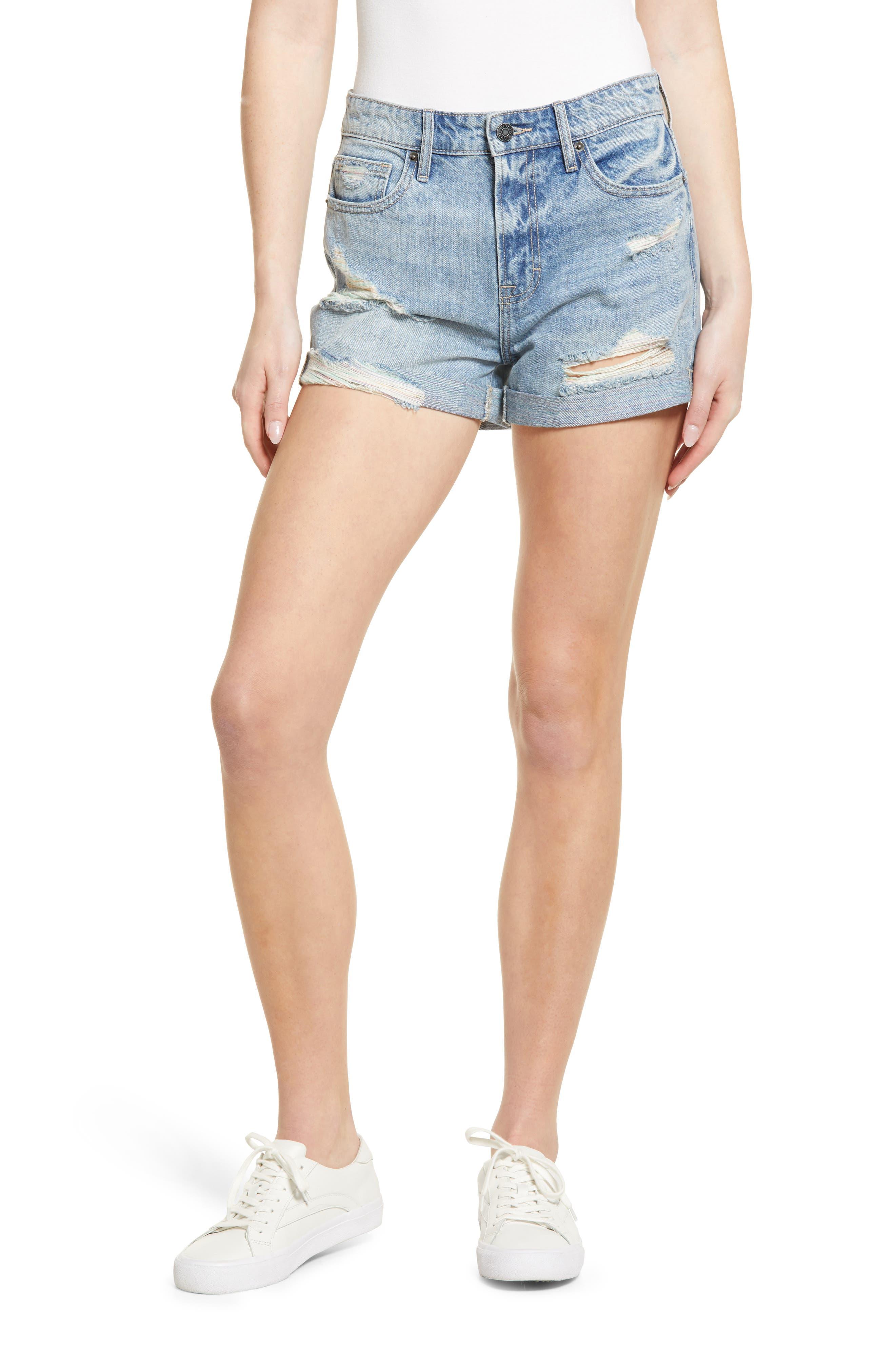 Distressed High Waist Nonstretch Cutoff Denim Shorts