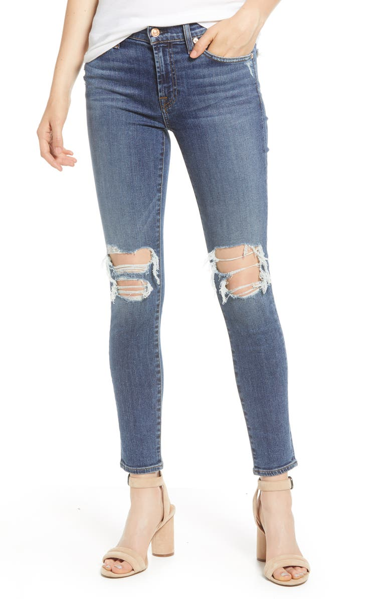 7 FOR ALL MANKIND<SUP>®</SUP> b(air) Ankle Skinny Jeans, Main, color, BLUE MONDAY