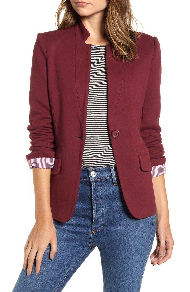 GIBSON Notch Collar Cotton Blend Blazer, Main, color, BURGUNDY