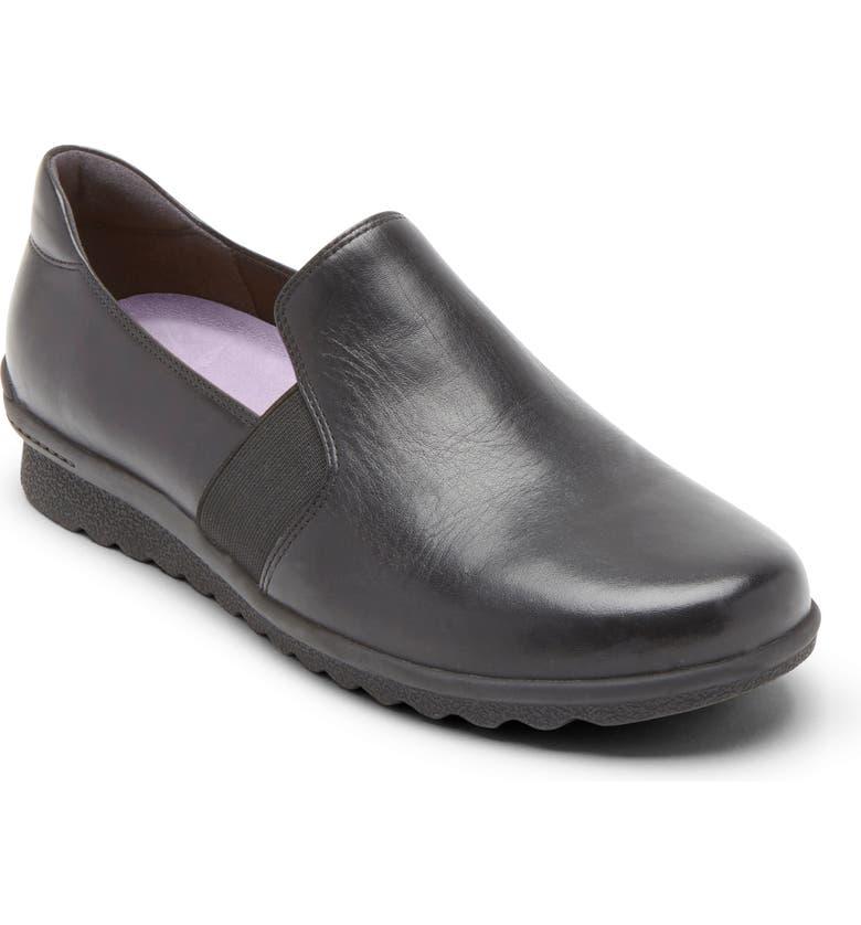 ARAVON Josie Comfort Flat, Main, color, BLACK LEATHER