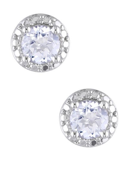 Image of Delmar Sterling Silver Created White Sapphire Stud Earrings