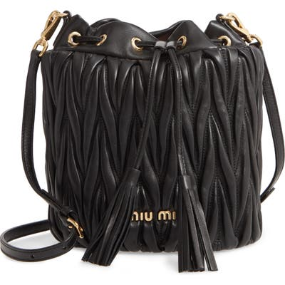 Miu Miu Small Matelasse Leather Bucket Bag - Black