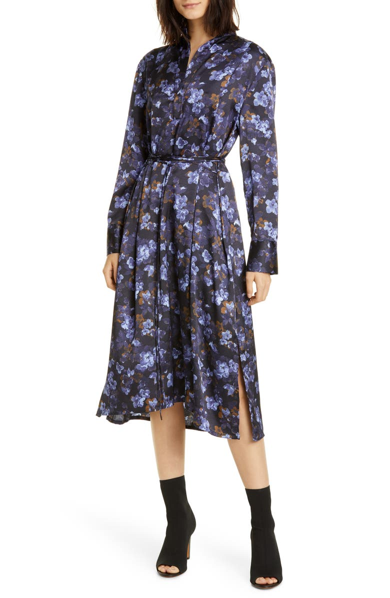 VINCE Plumeria Blooms Long Sleeve Hammered Satin Dress, Main, color, 403