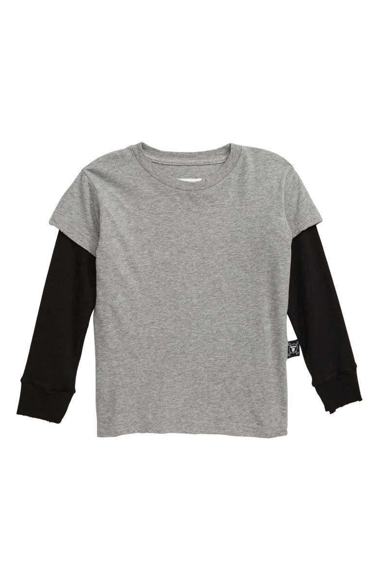 NUNUNU Don't Ask! Layer T-Shirt, Main, color, HEATHER GREY