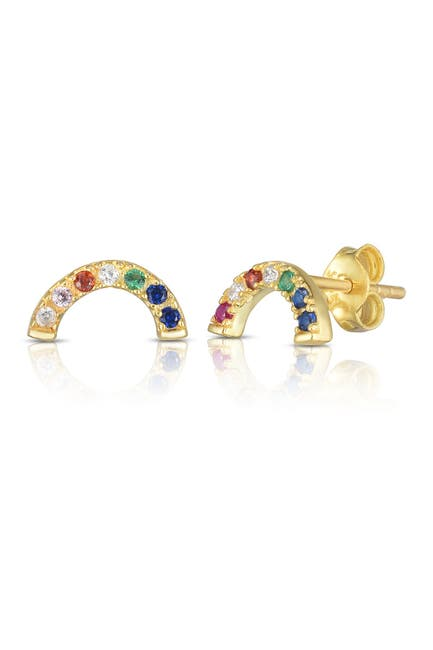 Image of Sphera Milano 14K Gold Plated Sterling Silver CZ Rainbow Arc Stud Earrings