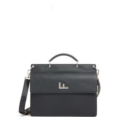 Fendi Ff Logo Embossed Leather Briefcase - Black
