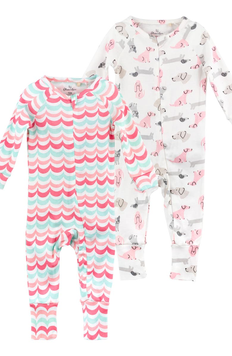 OLIVER & RAIN 2-Pack Organic Cotton Fitted One-Piece Pajamas, Main, color, 650