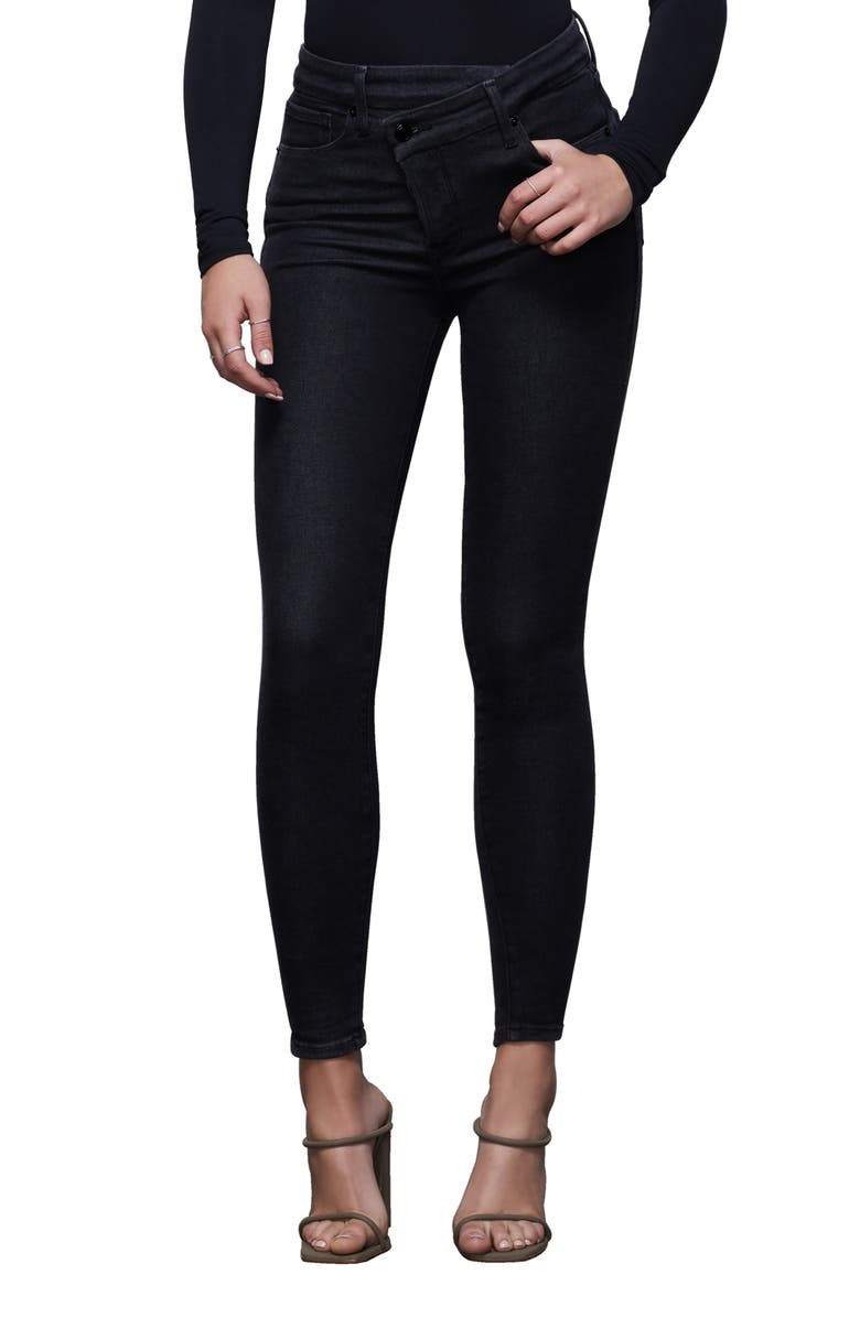 GOOD AMERICAN Good Waist Crossover High Waist Ankle Skinny Jeans, Main, color, 001