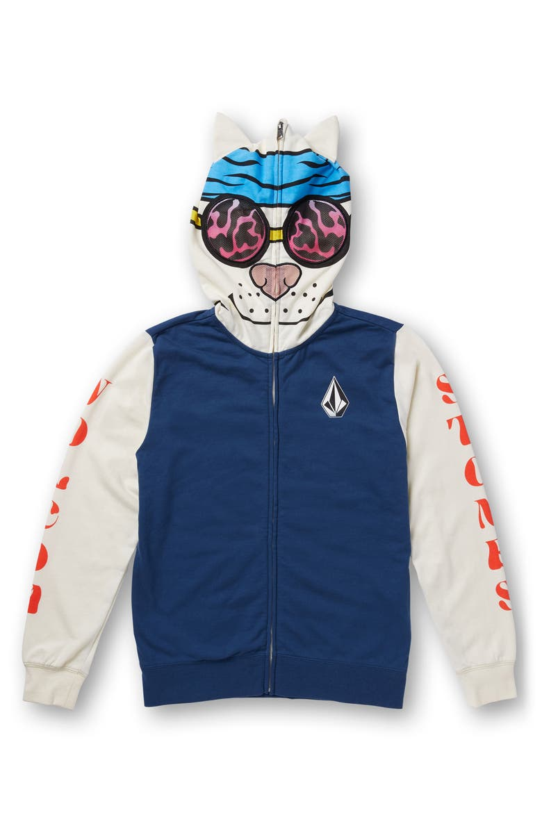 VOLCOM Road Beasts Mask Hoodie, Main, color, BLUE SMOKE