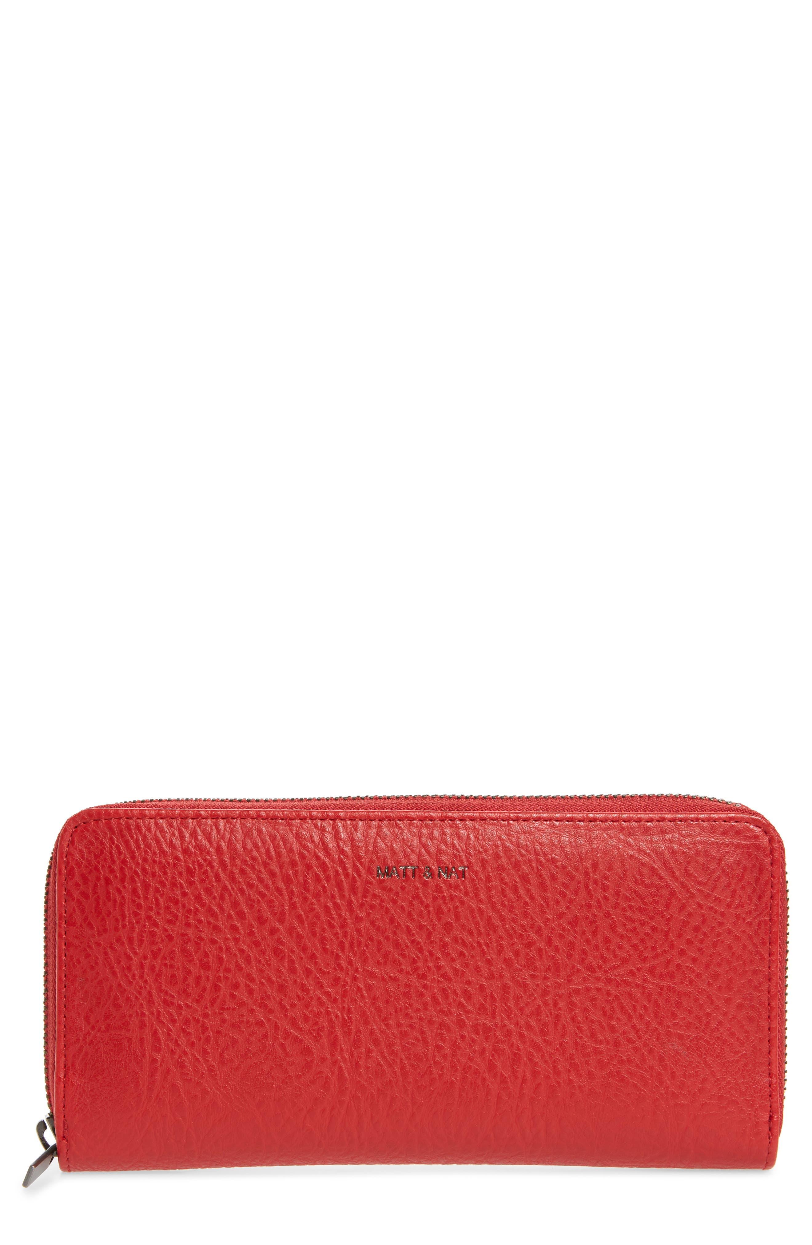 Matt & Nat Zip Around Faux Leather Wallet - Red