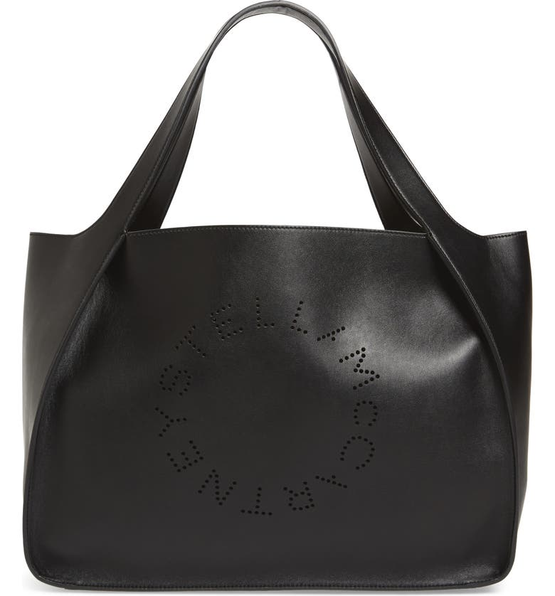 STELLA MCCARTNEY Medium Perforated Logo Faux Leather Tote, Main, color, BLACK