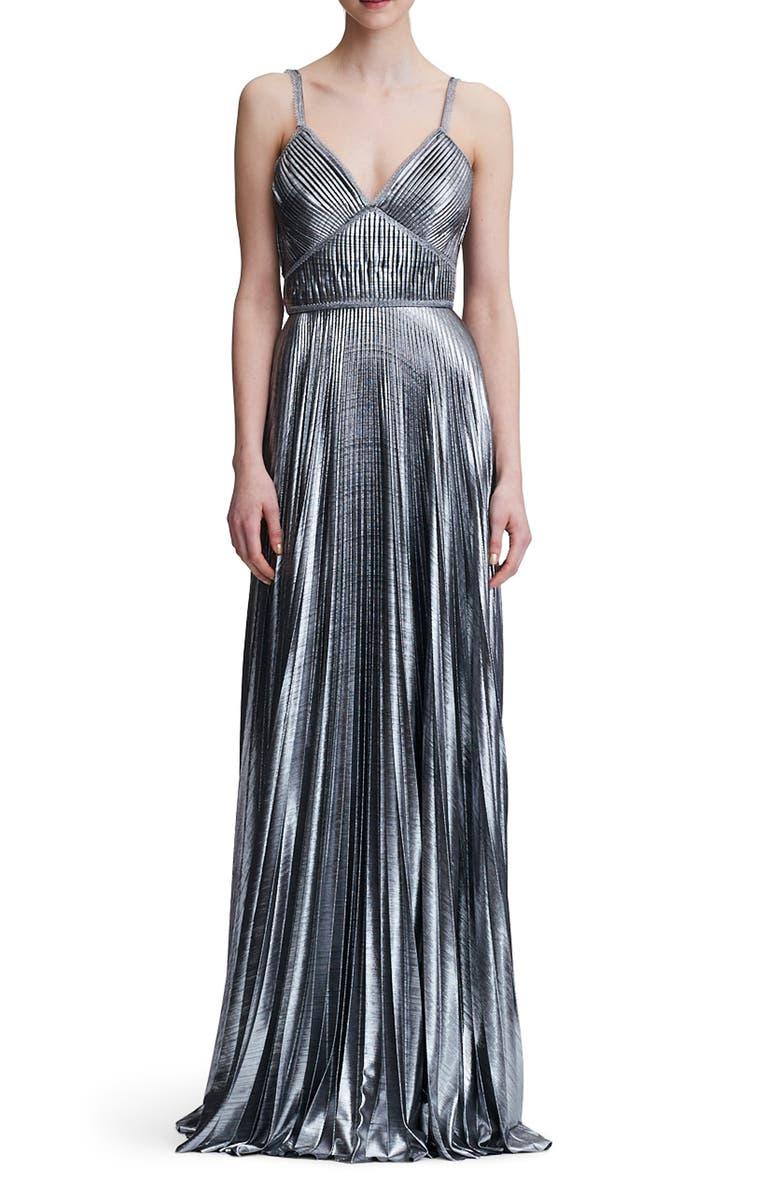 MARCHESA NOTTE Pleated Lamé A-Line Gown, Main, color, SILVER