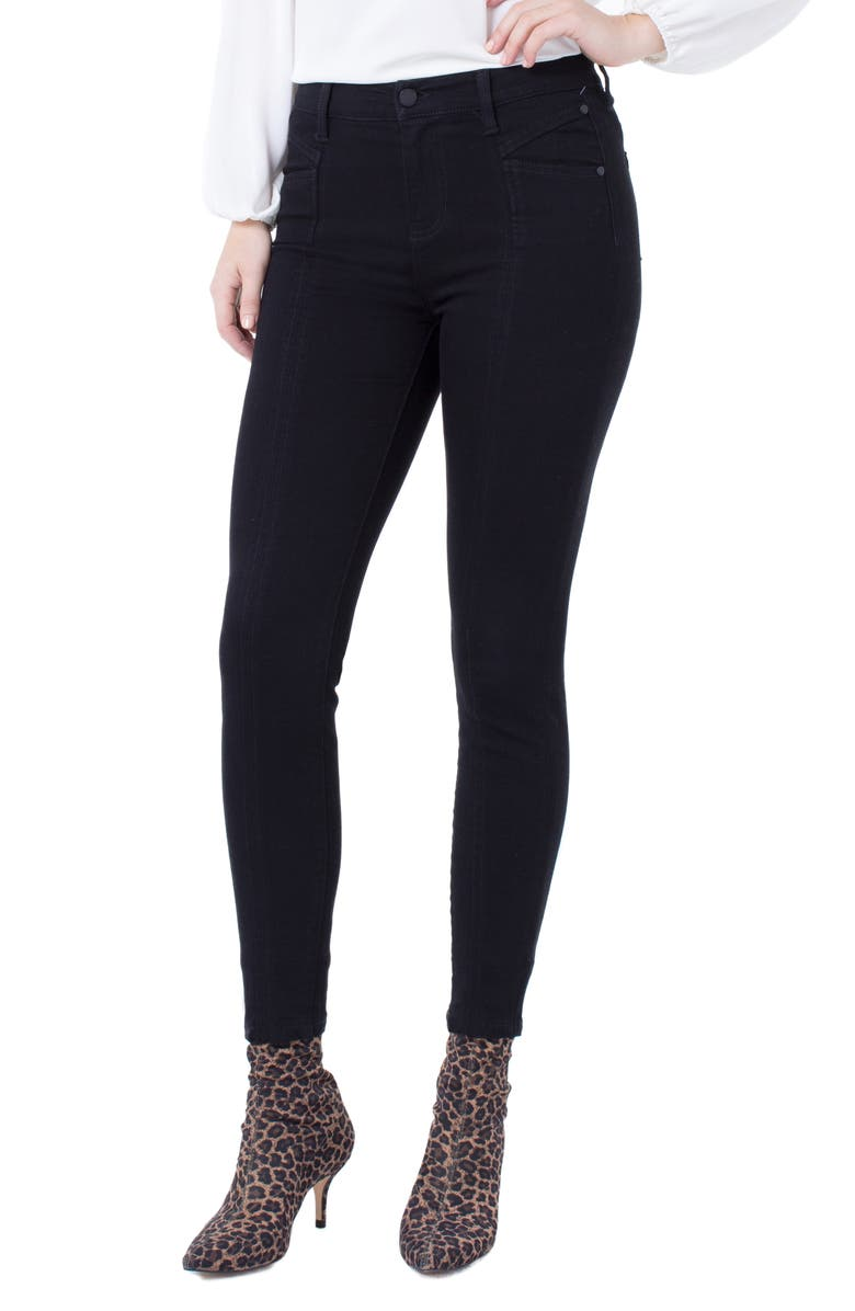 LIVERPOOL Abby Seamed Ankle Skinny Jeans, Main, color, BLACK RINSE