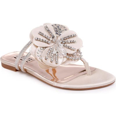 Badgley Mischka Laurie Embellished Slide Sandal, Ivory