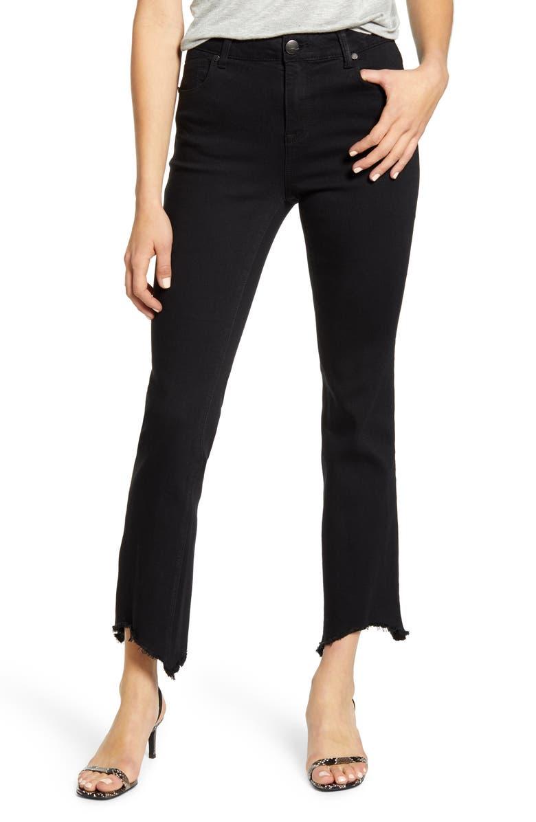 1822 DENIM Sharkbite Hem Crop Jeans, Main, color, BLACK