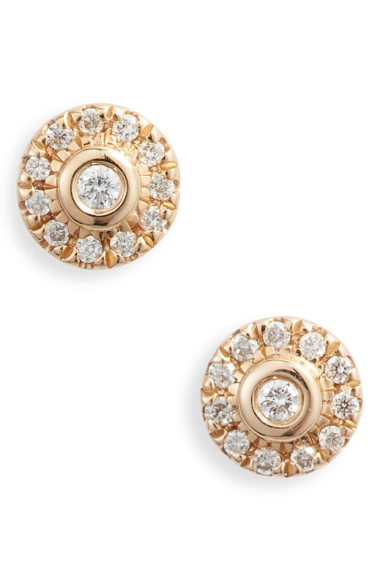 DANA REBECCA DESIGNS Lauren Joy Mini Diamond Disc Stud Earrings, Main, color, YELLOW GOLD