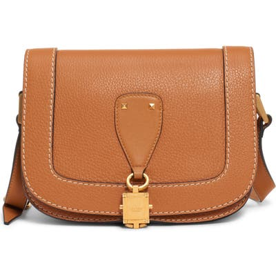 Valentino Garavani Small V-Locker Leather Saddle Bag - Brown