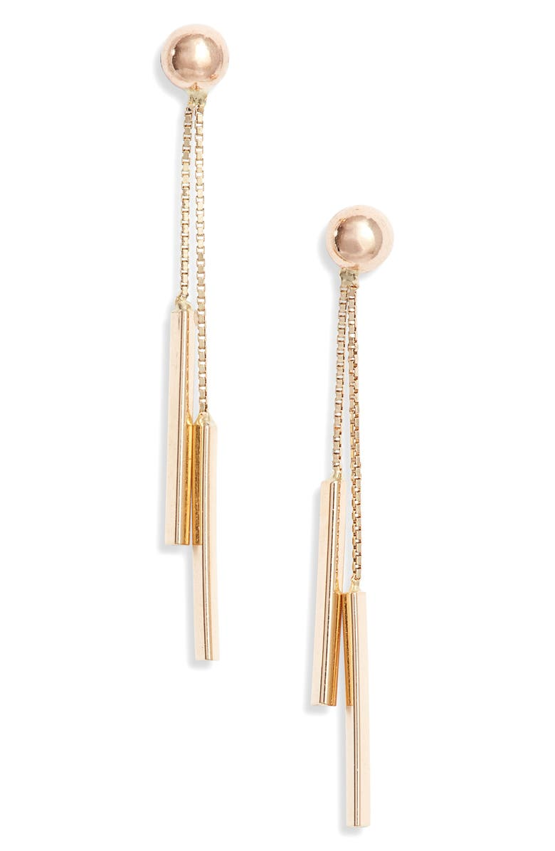 BONY LEVY Double Bar Drop Earrings, Main, color, YELLOW GOLD