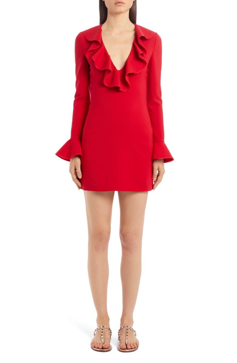 VALENTINO Ruffle Trim Long Sleeve Stretch Wool Minidress, Main, color, 600