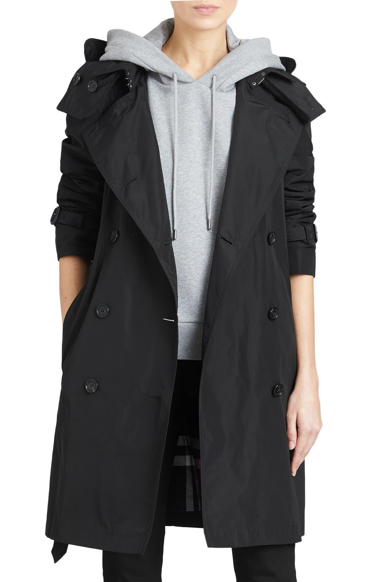 Amberford Taffeta Trench Coat with Detachable Hood, Main, color, BLACK