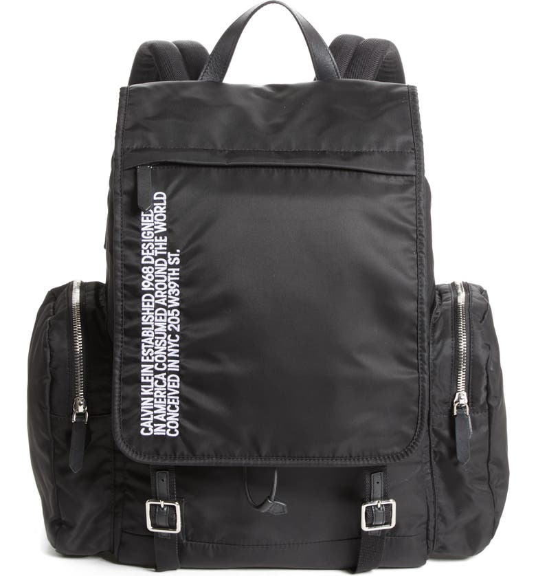 CALVIN KLEIN 205W39NYC Nylon Flap Backpack, Main, color, 001
