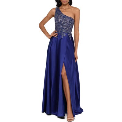 Xscape One-Shoulder Lace Applique Satin Ballgown, Metallic