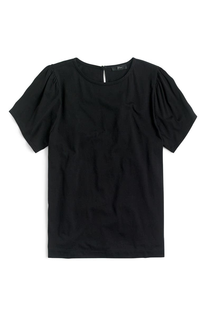 J.CREW Puff Sleeve Tee, Main, color, BLACK