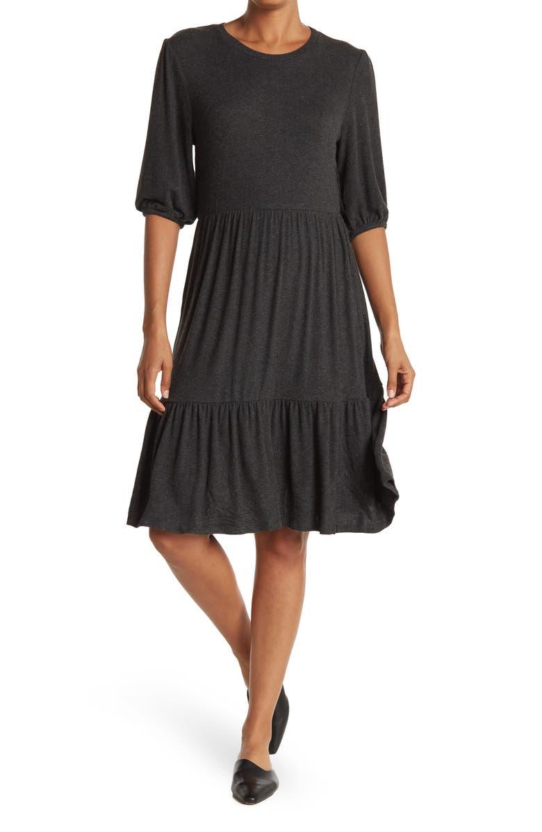 T TAHARI Viscose Blend Elbow Dress, Main, color, CHARCOAL HEATHER