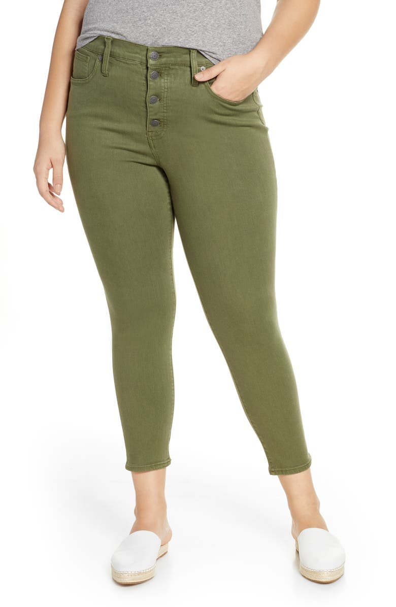 """MADEWELL 9"""" High Rise Skinny Button Front Crop Jeans, Main, color, LODEN"""