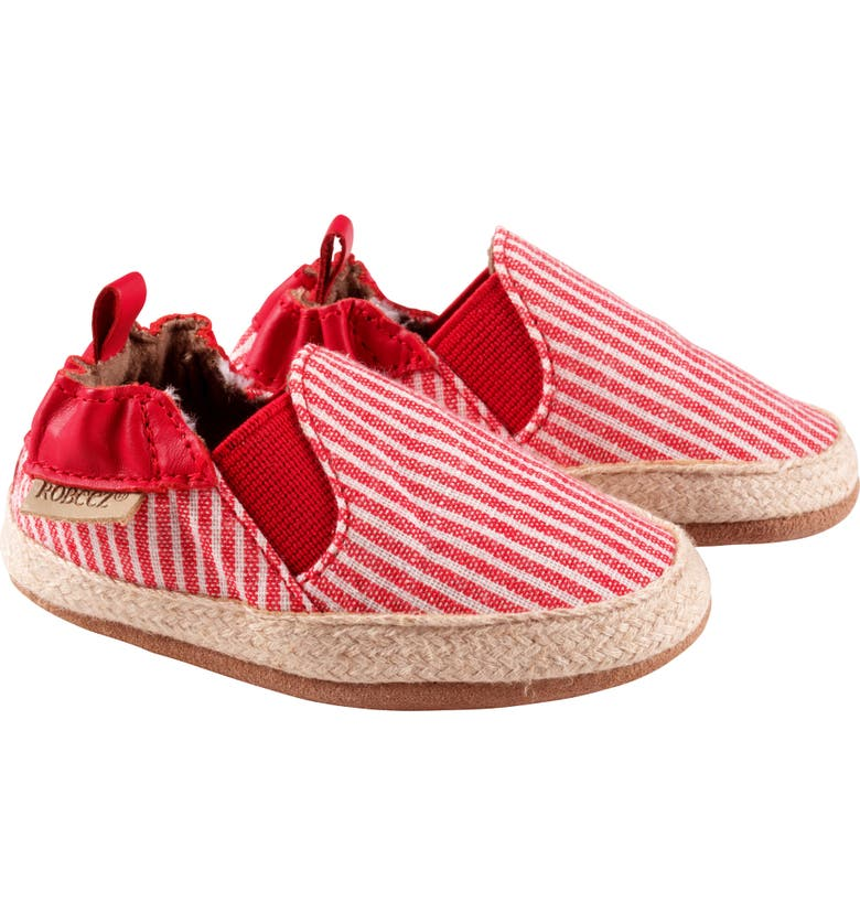 ROBEEZ<SUP>®</SUP> Waverly Stripe Espadrille Crib Shoe, Main, color, RED