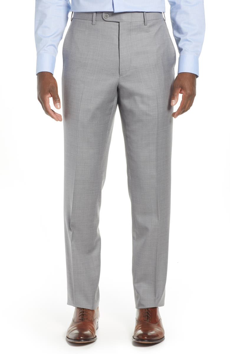 JOHN W. NORDSTROM<SUP>®</SUP> Torino Classic Fit Flat Front Solid Dress Pants, Main, color, GREY FILIGREE