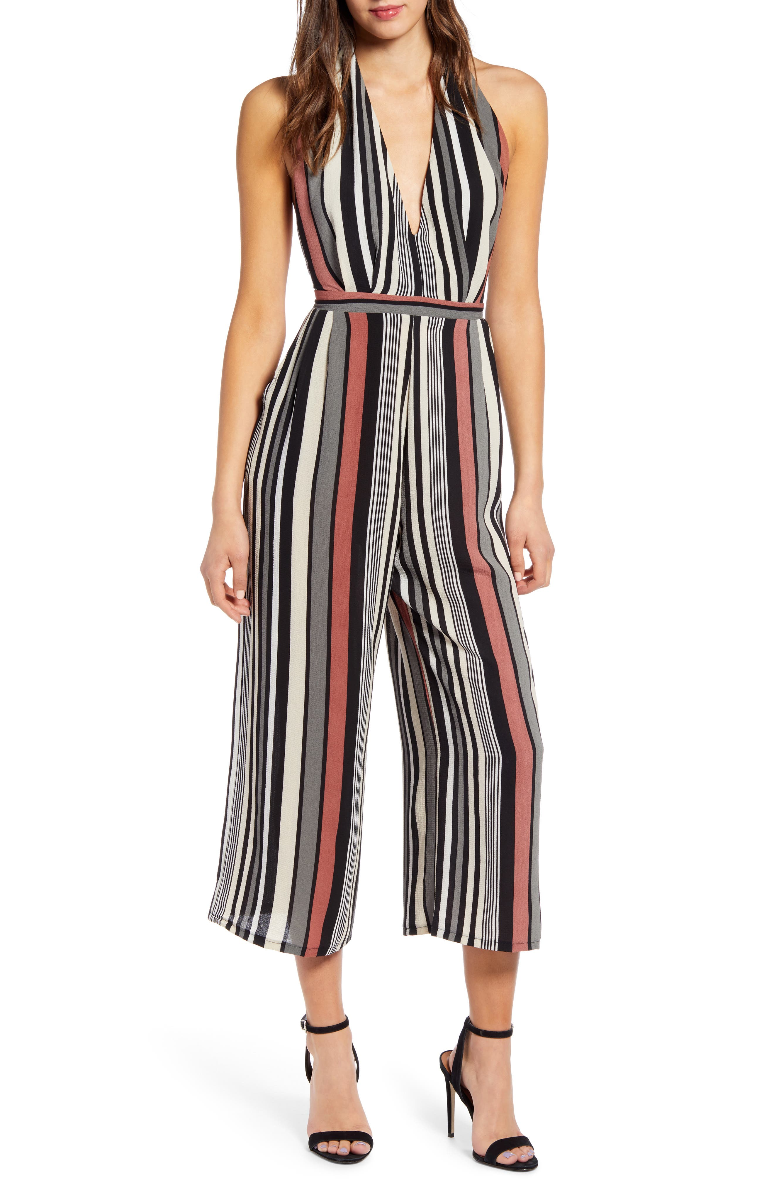Leith Halter Cropped Jumpsuit, Pink