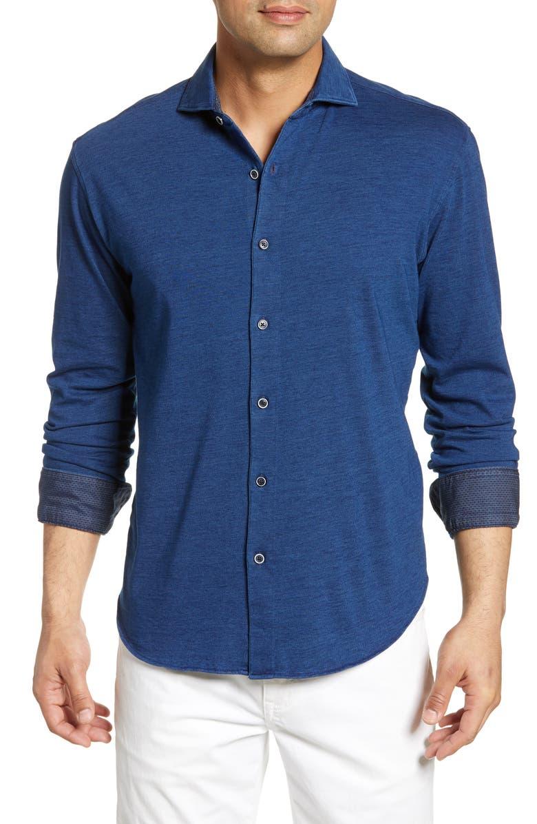 BUGATCHI Shaped Fit Shirt, Main, color, NAVY