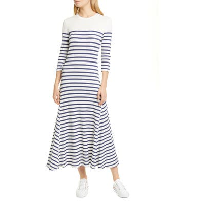 Polo Ralph Lauren Stripe Waffle Knit Cotton Blend Dress, Blue